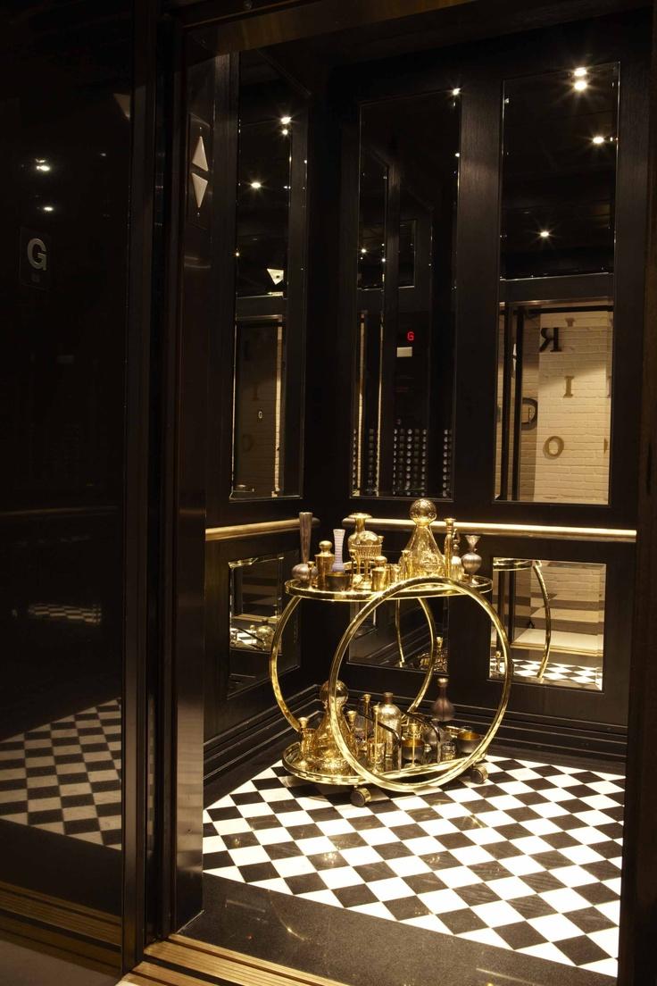 #london on the esplanade. #elevator cab. timeless. geometric patterning. black + white + #gold. #andreakantelberg