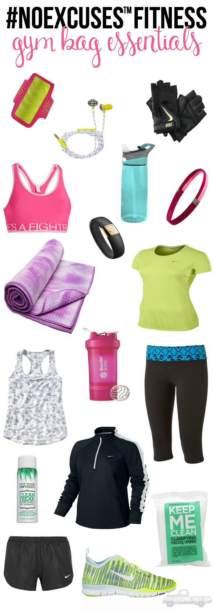 Here are some great items to make sure you have in your gym bag! Never leave home without them! #NOEXCUSES™ Fitness Gym Bag Essentials
