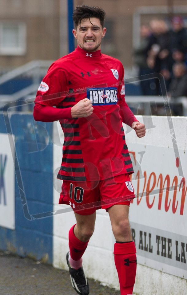 Queen's Park's Paul Woods celebrates his goal during the SPFL League Two game between Montrose and Queen's Park.