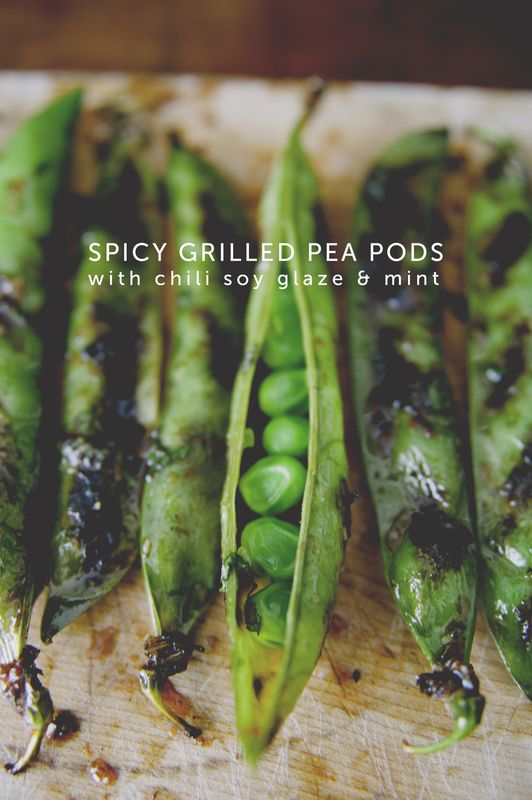 spicy grilled pea pods w/chili soy glaze + mint