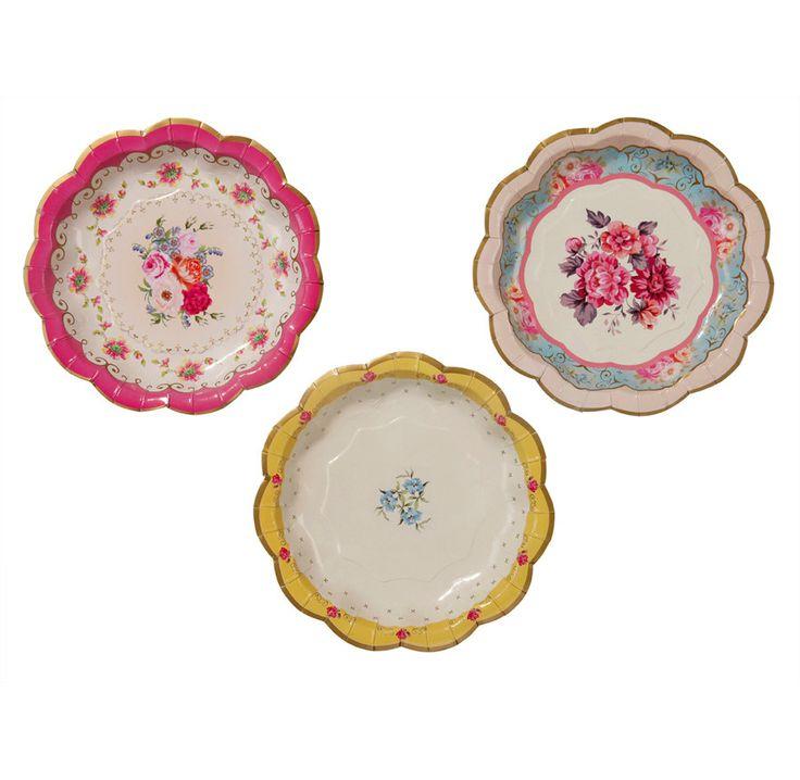 12 Vintage Tea Party Paper Plates by thevintagecream on Etsy £3.99  sc 1 st  Pinterest & 11 best Paper plates images on Pinterest | Paper plates Party ...