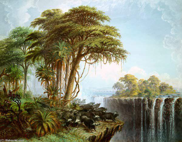 Buffalos Driven To The Edge Of The Chasm face de l île Garden, Chutes Victoria de Thomas Baines (1820-1875, United Kingdom)