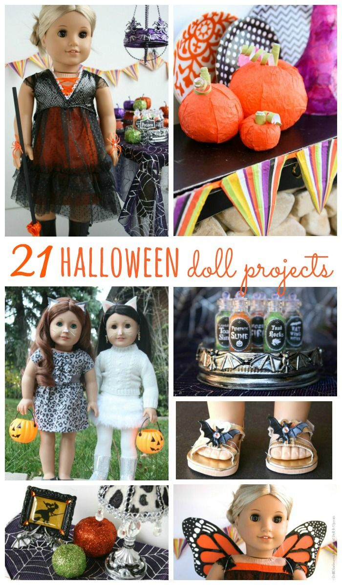 21 Halloween crafts and sewing projects for American Girl dolls.