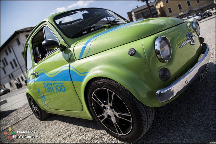 #Nice #green #vintage #fiat500 in #Palmanova #square http://www.palmanovaoutlet.it/en