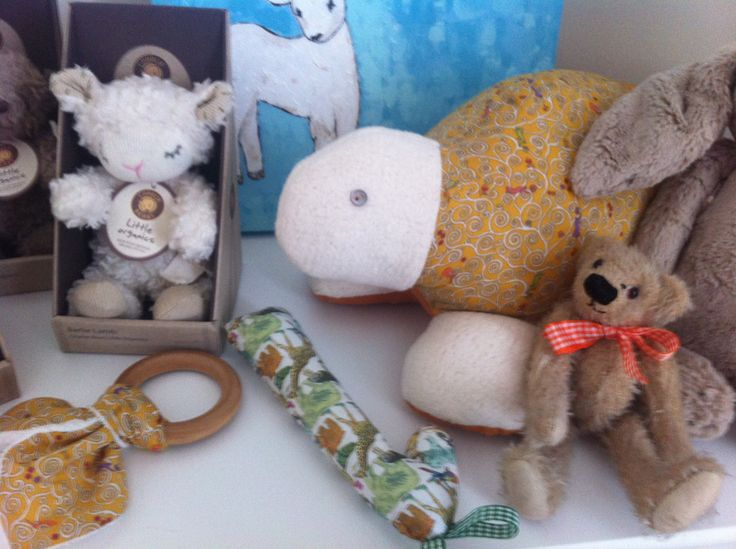Various baby toys, rattles, teethers in liberty incl myrtle the turtle