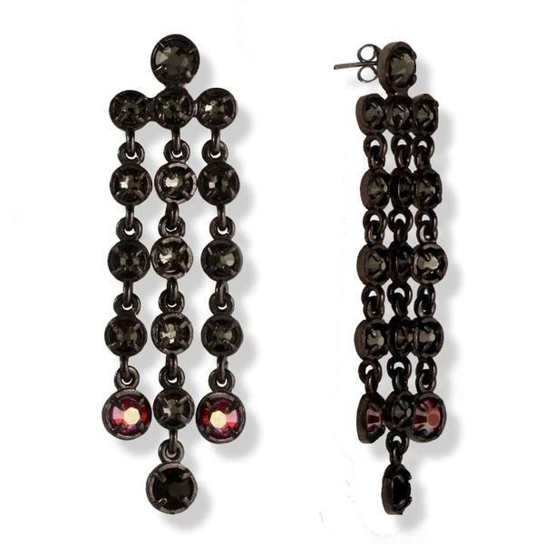 Black Plated Silver Chandelier Swarovski Long Earrings - Anthos Crafts - 1