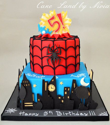Spiderman Cake - this would need batman on it somewhere, probably on the bottom layer.