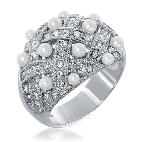 Basket Weave CZ Diamond Pearl Cocktail Ring