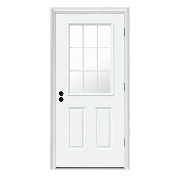 30 In X 80 In 9 Lite Brilliant White Painted Premium Steel Prehung Front Door With Brickmould