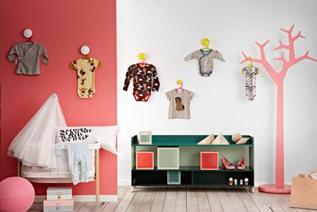 """Family Living """"Clever storage in kids rooms"""" display clothes on wall with knobs or hooks"""