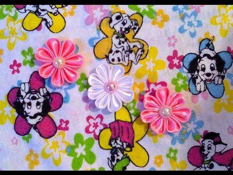 Маленькие цветочки Канзаши из атласных лент. Мастер-класс. / Flower Kanzashi Master Class hand made - YouTube