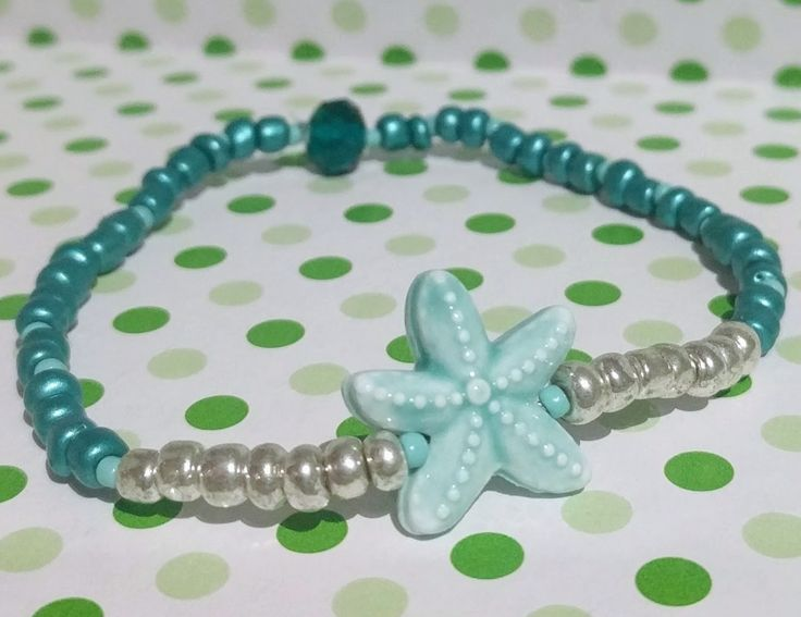 Azure Starfish Bracelet featuring ceramic starfish. Available now to shop in Facebook.com/charliecocoboutique #charliecocoboutique #starfish #jewellery #bracelet #handmadejewellery #mint #aqua #green