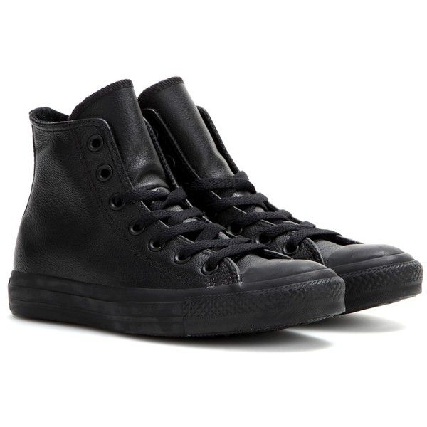 Converse Chuck Taylor All Star Leather High-Top Sneakers ($100) ❤ liked on Polyvore featuring shoes, sneakers, black, black leather shoes, converse sneakers, black sneakers, black high tops and leather shoes