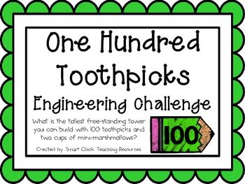 One Hundred Toothpicks: Engineering Challenge Project ~ Great STEM activity!  What is the tallest free-standing tower you can build with 100 toothpicks and two cups of mini-marshmallows? $