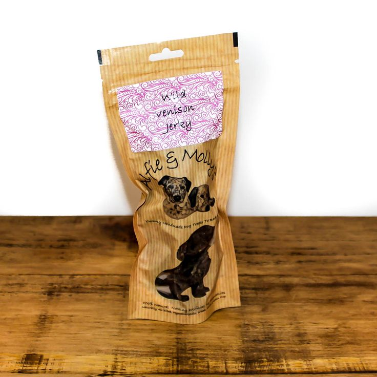 A yummy air-dried dog treat from Alfie & Molly's. This wild venison jerky is a natural treat for your dog. Made in the UK.