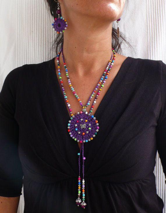 Purple TRIBAL MANDALA crochet NECKLACE butterfly boho necklace