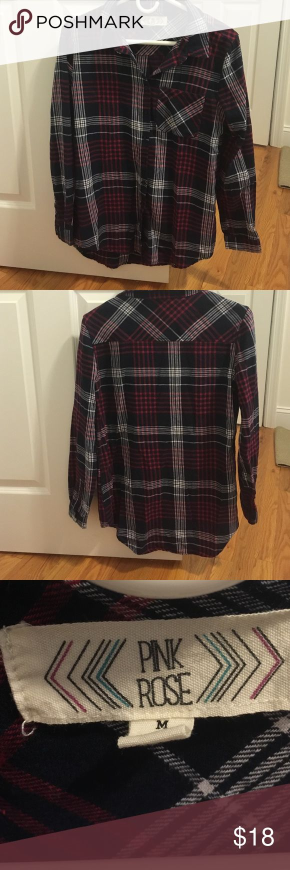 Women's plaid shirt Red, white and navy. Like new, pocket on front! Button down Tops Button Down Shirts