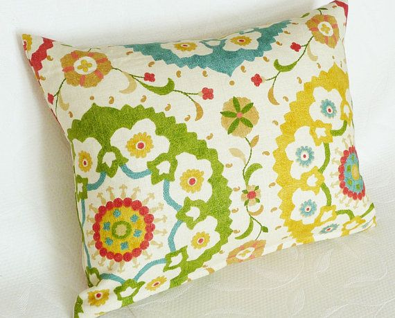 Suzani Throw Pillows, Colorful, Cushion Cover, Decorative, Designer, Accent, Sofa Pillow, Cream Red Green Yellow Blue, 16x20, 18x18, 16x16 via Etsy