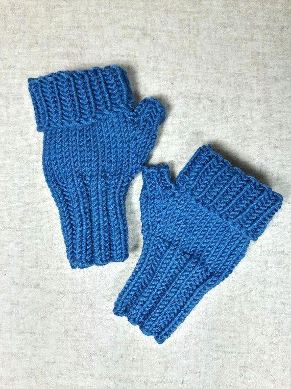 Fingerlose Handschuhe petrol für Kleinkinder (ca. 2-3 Jahre) aus Merinowolle mit verlängertem Fingerbündchen. Farbe: petrol, dunkelpetrol,