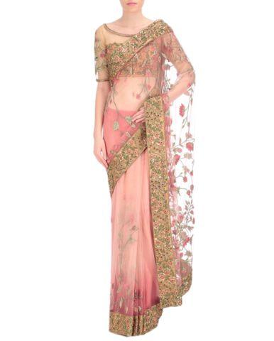 Peach color designer saree in thread embroidery