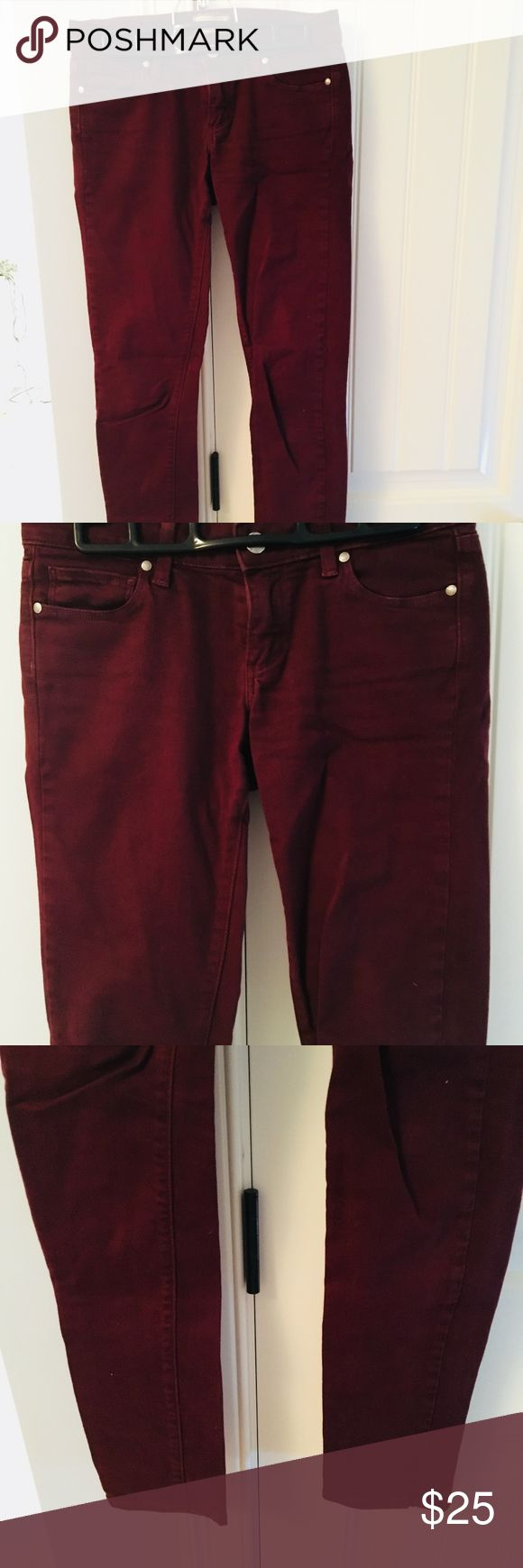 "Maroon Skinny Jeans by Paige. Size 25 Maroon colored skinny jeans ""Peg Skinny"" by Paige. 98% Cotton and 2% Spandex. Very comfortable and good quality pants. Paige Jeans Jeans Skinny"