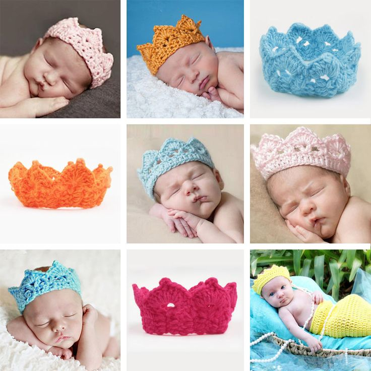 Knitting Crown Newborn Photography Props Cute Baby Caps Soft Baby Hat Baby Infant Headband Crochet Newborn Hats