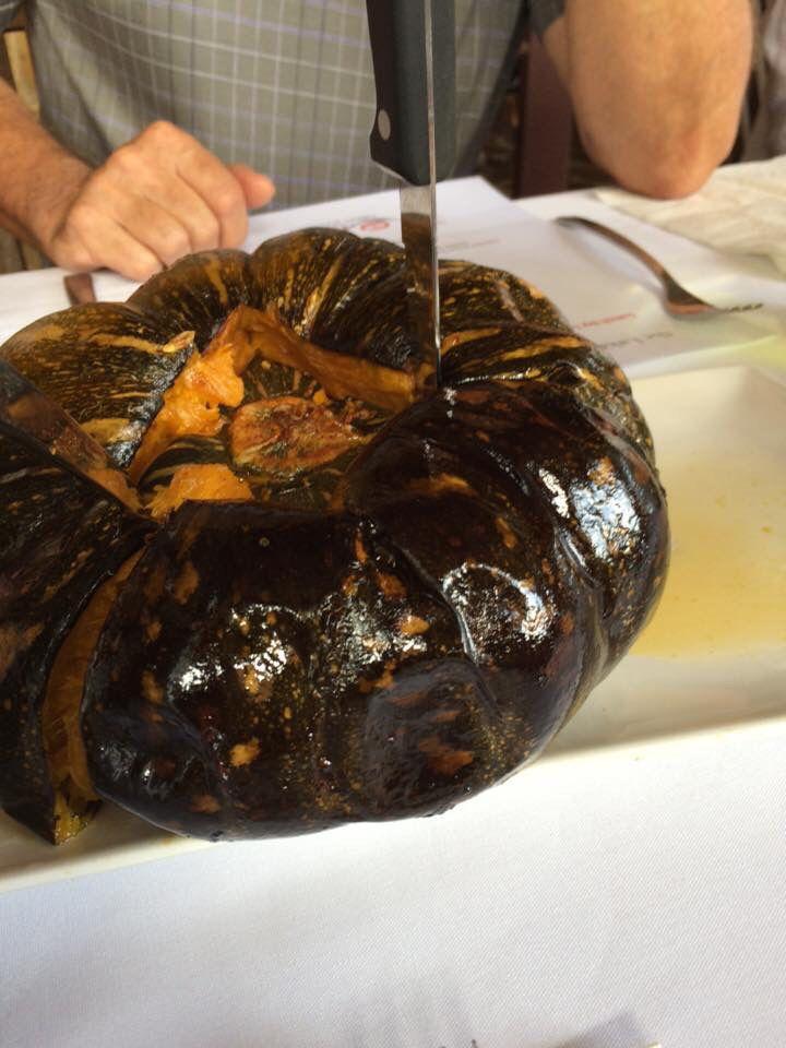 Whole roasted pumpkin