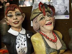 Gwennie and Myra - A portrait bust in clay. Sculptures by Kate French, Queensland, Australia http://katefrench.com.au/