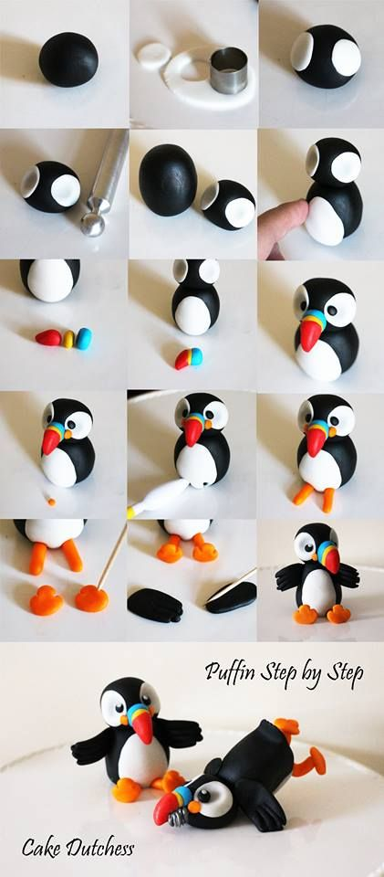 DIY Puffin Tutorial for Fondant by Cake Dutchess (Also would work for polymer clay)