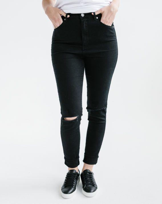 Black Distressed Skinny Jean - Blossom & Glow