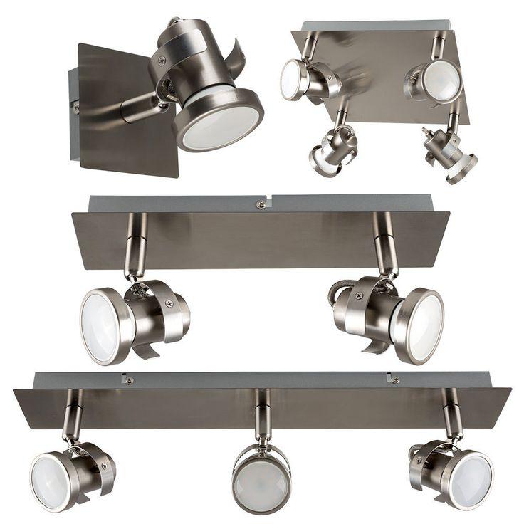 Brushed Chrome Adjustable LED GU10 Ceiling Spot Light Kitchen Spotlight Fittings