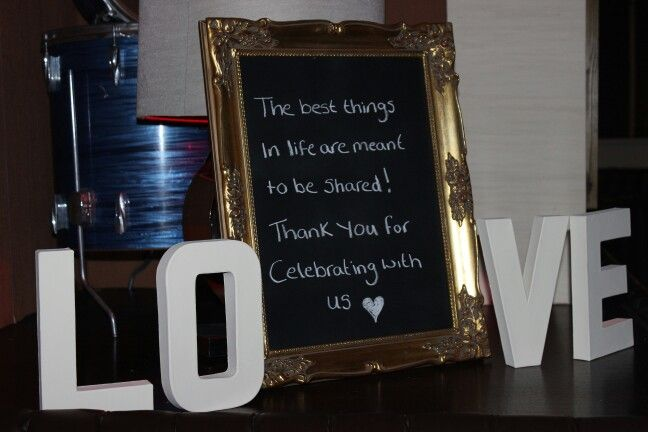 Homemade chalkboard (second hand frame, cardboard and blackboard spray paint). With ivory painted love letters.