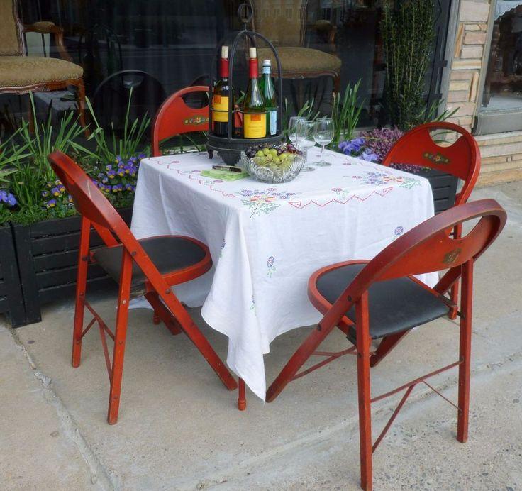 Vtg C1930 Louis Rastetter Solid Kumfort Wood Folding Chairs U0026 Card Table  PhilaPA