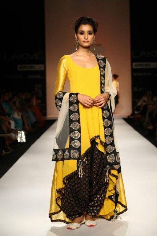 payal singhal lfw 2013 yellow black anarkali