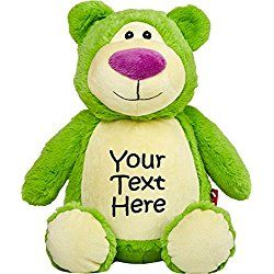 Personalized Stuffed Lime Bear with Three Lines of Embroidery