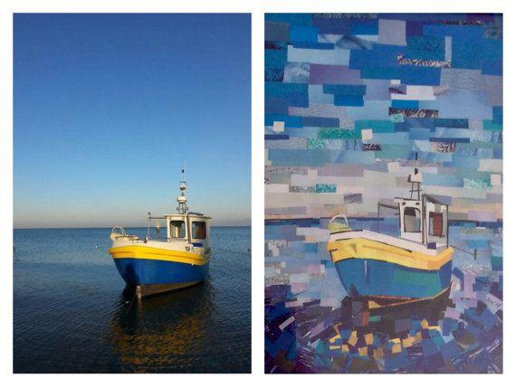 Blue Boat in Gdansk, Poland, made by A Piece of paper City Niebieska łódka, Gdańsk Paper Art