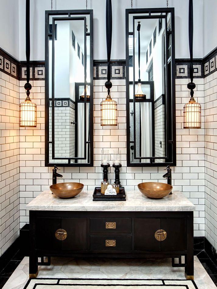 Imágenes de la decoración en baños de restaurantes  y hoteles.