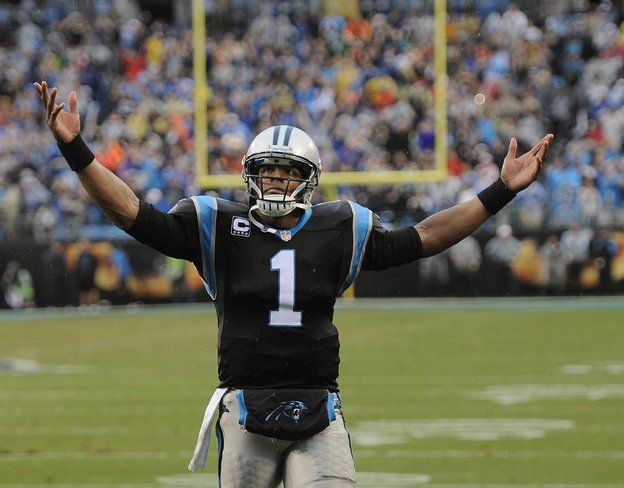 Cam Newton celebrating the winning touchdown 12/22/13