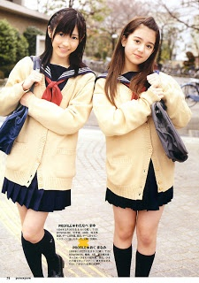 Japanese school uniforms. Love the cream colored cardigans.     #schooluniform #prepschoolstyle