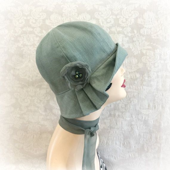 1920s Cloche Hat - Green Flapper Hat - Linen Cloche - Womens Linen Hats - Downton Abbey Cloche - Sewn Fabric Hat - Hats Handmade in USA - Polly The Polly has a lot of sass! A vintage 1920s style cloche hat. This beautiful Polly hat sits comfortably on your head giving full head