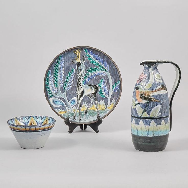 Keramik, 3 delar. Tilgmans, höjd: 5 - 29