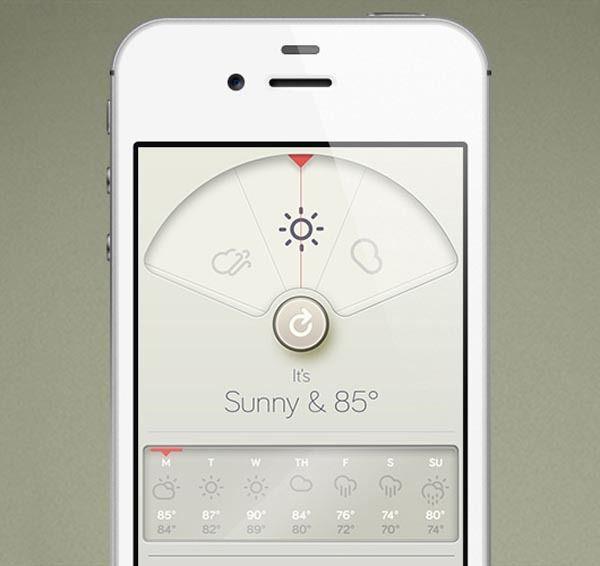 BRAUN inspired iPhone Weather App Design