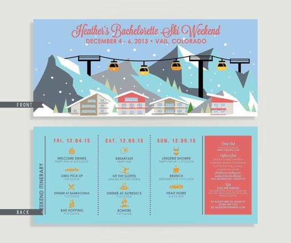 Bachelorette Party Ski Weekend Invitation with by kreativees