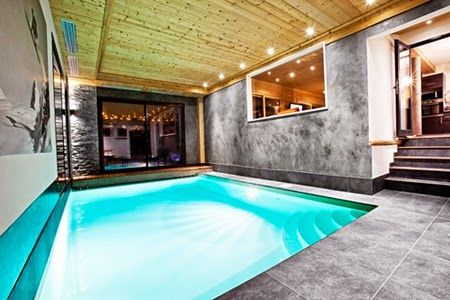 Modern Contemporary Indoor Pool Design with Grey Ceramics Floor Tile