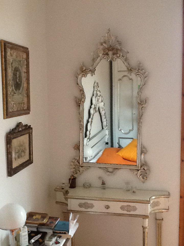 Specchio foglia argento e tempera