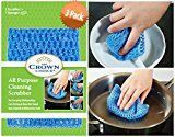 NO ODOR Dish Cloth for All Purpose Dish Washing (3 Pk) | No Mildew Smell from Sponges Scrubbers Wash Cloths Rags Brush | Outlast ANY Kitchen Scrubbing Sponge or Cotton Dishcloth