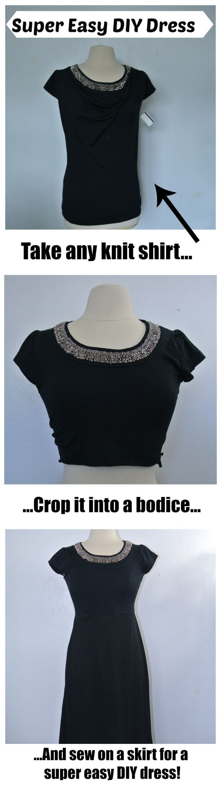 This is so easy I can't believe I didn't think of it sooner. Use a shirt to create a dress bodice Take any knit shirt, crop it into a bodice, add a skirt, and BAM! New dress with half the work. Plus you can use tops that already have beadwork so you don't have to do any!