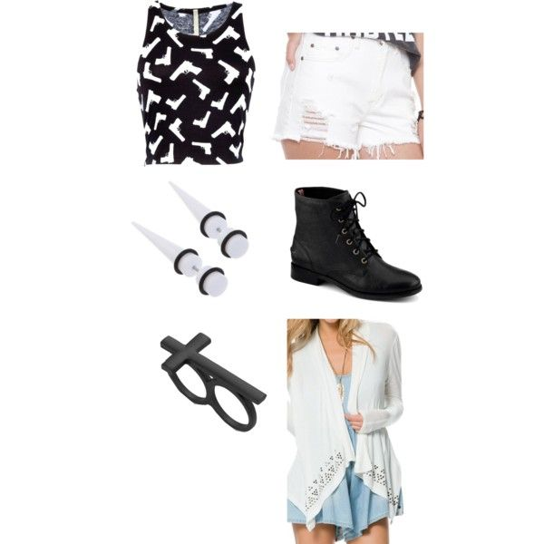 Black and white guns hipster indie scene outfit