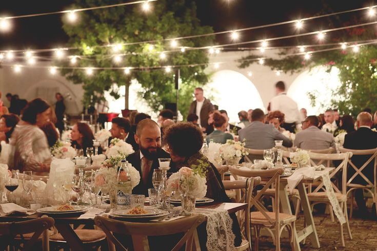 Romantic outdoor wedding reception in Puglia, see more at Stacy and Liam's wedding at this Italian wedding venue https://www.perfectitalywedding.com/weddings/apulia-wedding-italy/