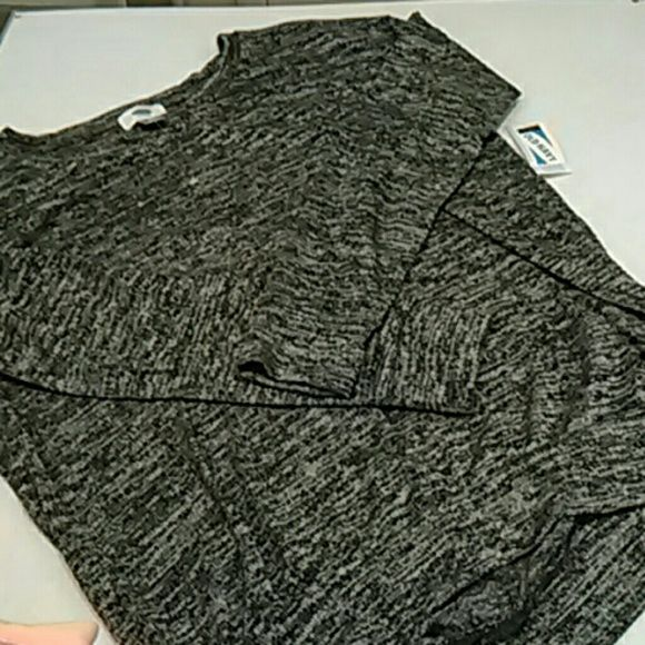Lightweight marled sweater top from Old Navy Brand new with tags, grey marl crewneck top.  Lightweight sweater knit.  The hem in back is lower than the front, for a flattering fit. Old Navy Tops Tees - Long Sleeve